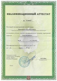 Квалификационный аттестат О.Н.О