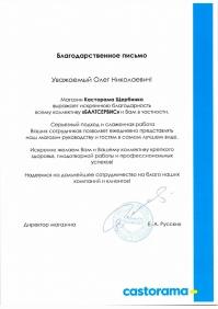 Благодарственное письмо Касторама Щербинка