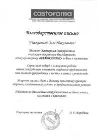 Благодарственное письмо Касторама Электросталь